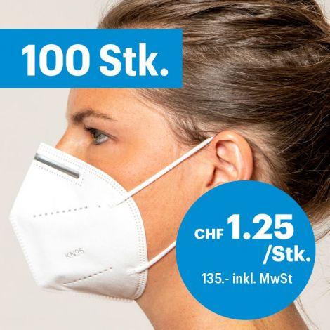 100er-Pack Atemschutzmasken ohne Ventil FFP2/KN95
