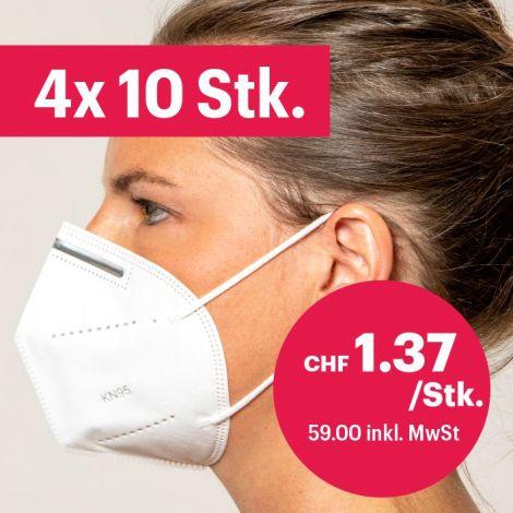 4x 10er-Pack Atemschutzmasken ohne Ventil FFP2/KN95